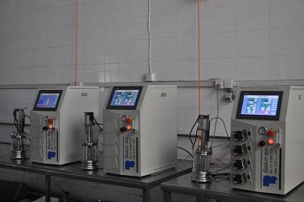 Micro biological reactor (0.1 l - 1 liter displacement sterilization)
