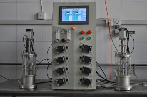 two conjoined  glass fermenter|bioreactor  (desktop)