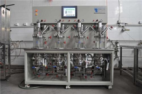 Quadruple mechanical agitation in situ sterilization glass fermenter