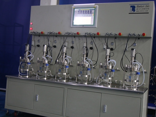 six conjoined  glass fermenter|bioreactor