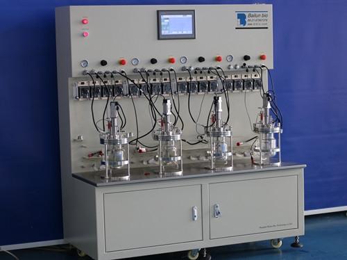 four conjoined  glass fermenter|bioreactor
