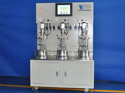 Triple a poco la agitación mecánica fermentador de vidrio estéril